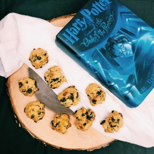 a tree stump with rock cakes and a blue harry potter book