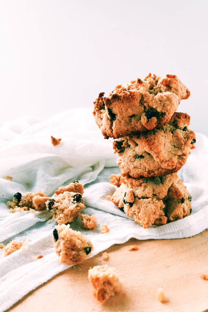 Hagrids rock cakes stacked with crumbs nearby on a white towel