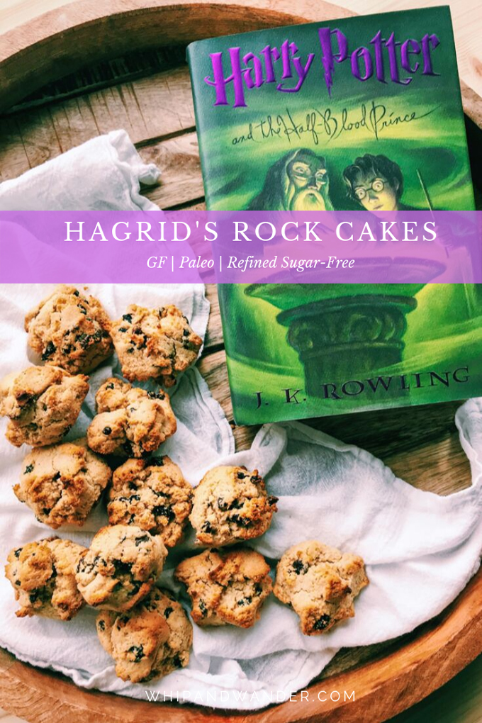 a purple banner across an image of paleo rock cakes and a harry potter book
