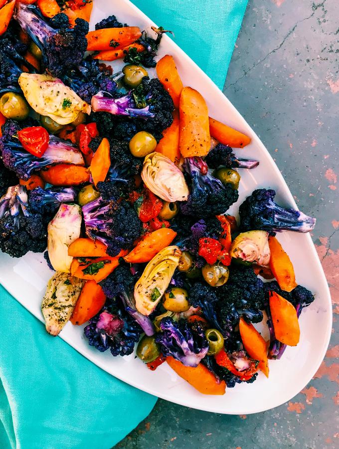 Mediterranean Roasted Rainbow Vegetables