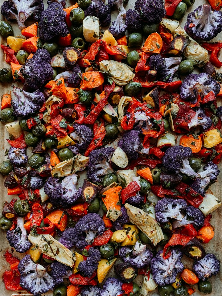 a sheet pan containing Mediterranean Roasted Rainbow Vegetables