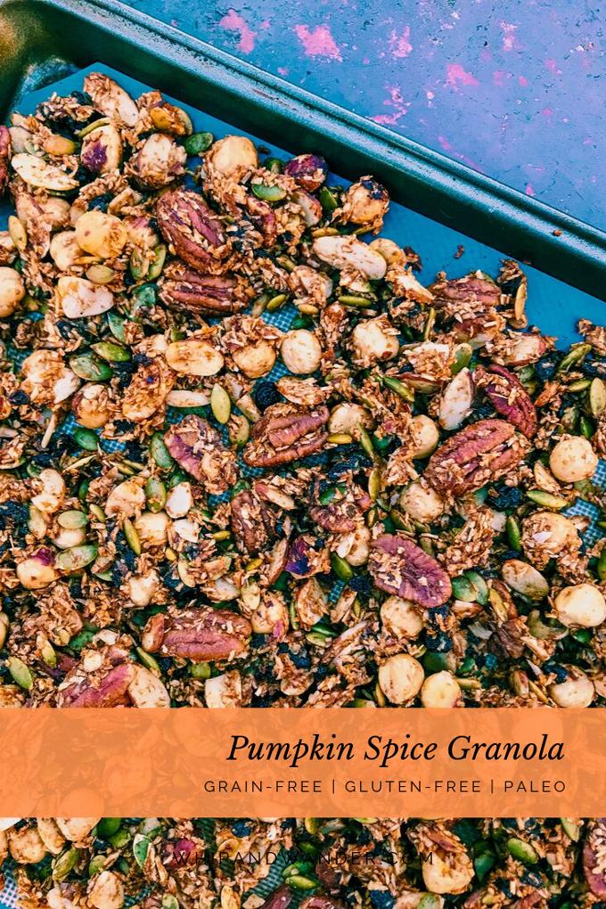 nuts, seeds, coconut, pumpkin spice granola on baking sheet