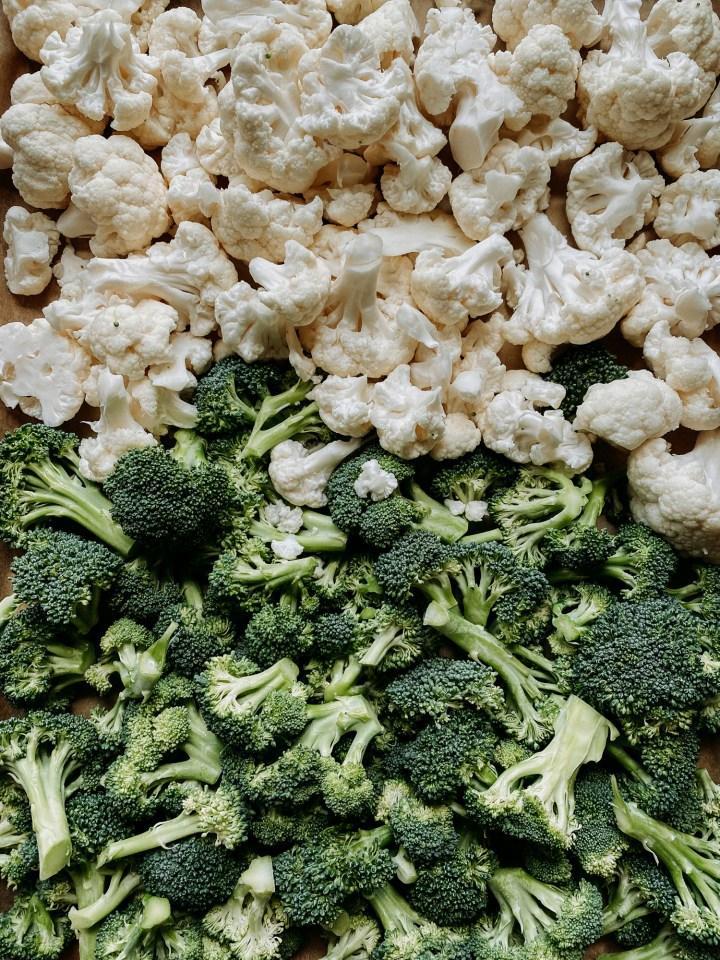 raw broccoli florets and cauliflower florets