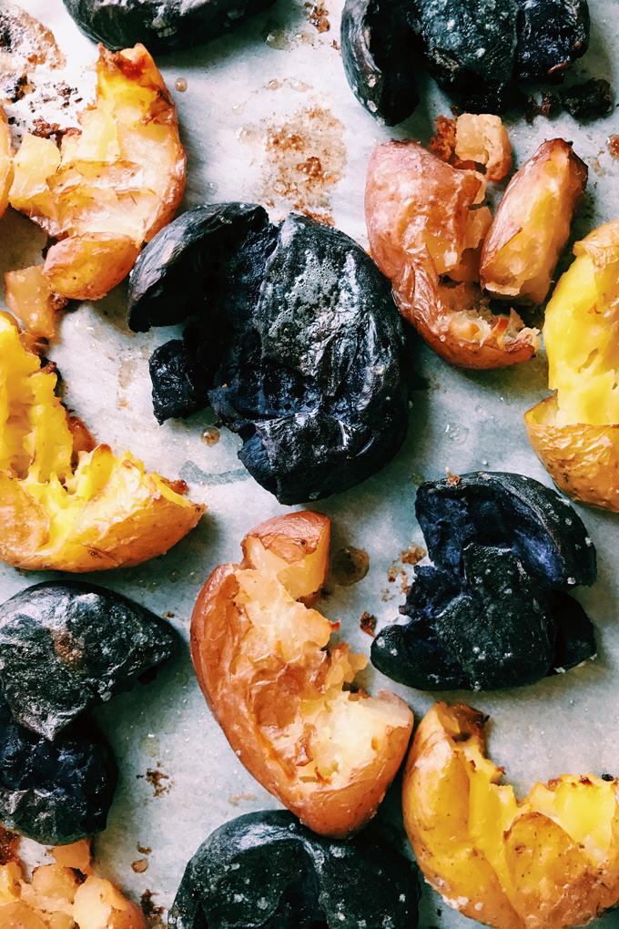 a closeup of smashed potatoes