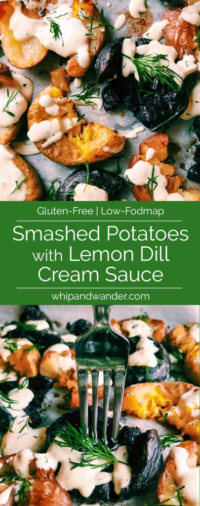 smashed potatoes with a green text box that says smashed potatoes with lemon dill cream sauce