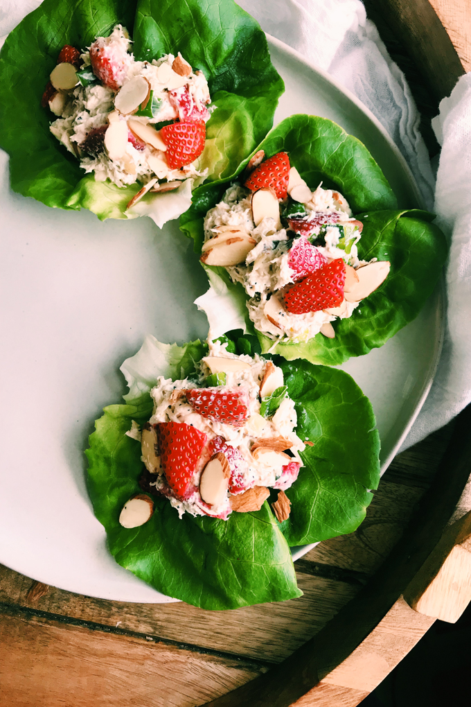 Closeup of chicken salad with strawberries on butter lettuce