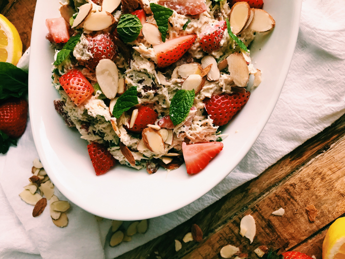 white bowl with strawberry poppy seed chicken salad
