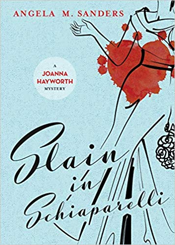 Light blue background with a black ink drawing of a woman ina gown with a red heart blotch over the top and black text that says Slain in Schiaparelli