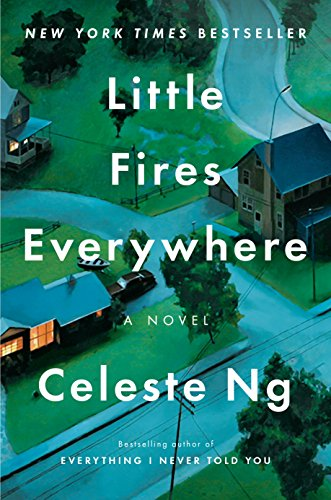 a street of houses with white text that says Little Fires Everywhere