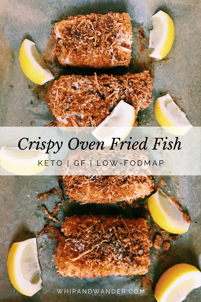 white text box with black text over the top of 4 pieces of oven fried fish and lemon wedges