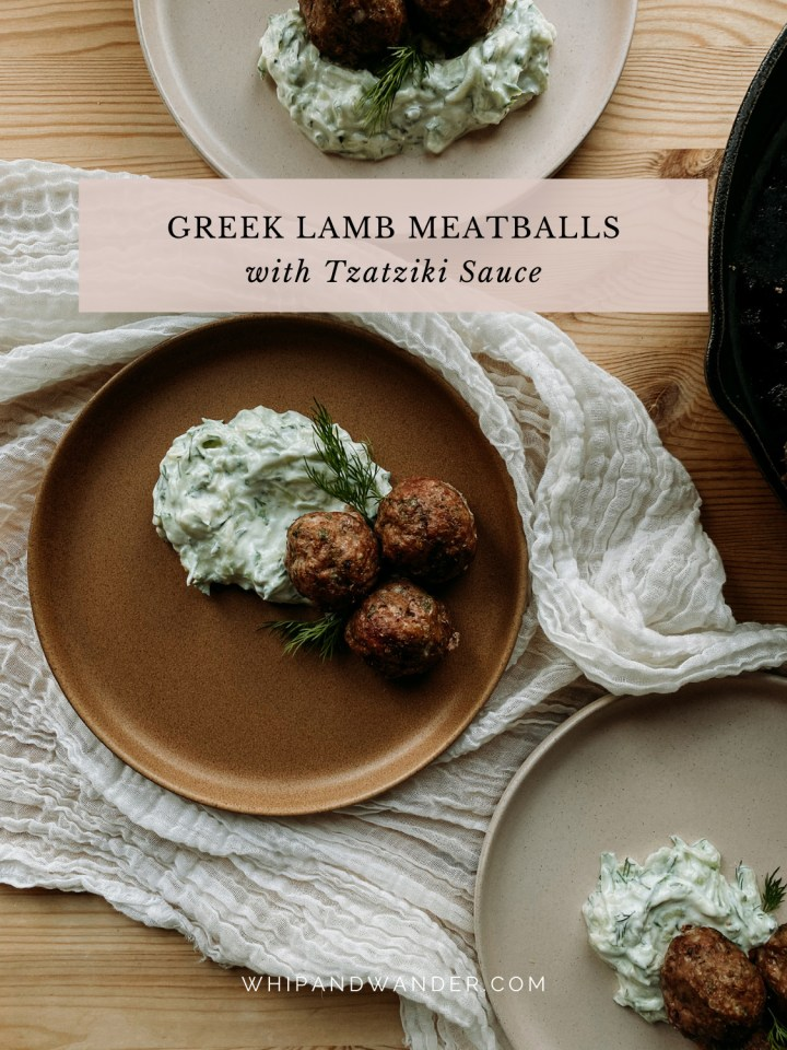a brown plate containing 3 Greek Lamb Meatballs with Tzatziki Sauce on a white cloth between two other plates next to a black pan