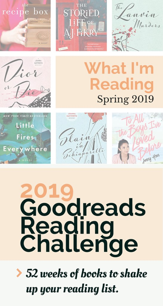 2019 Goodreads reading challenge text in black and peach over a bunch of colorful book covers