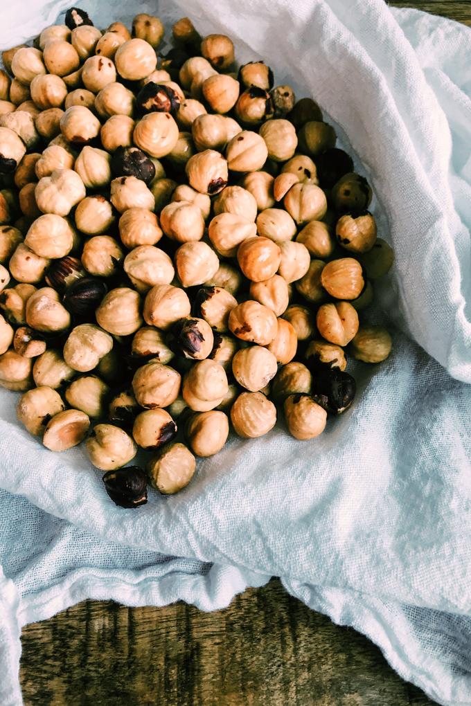 hazelnuts in a white towel