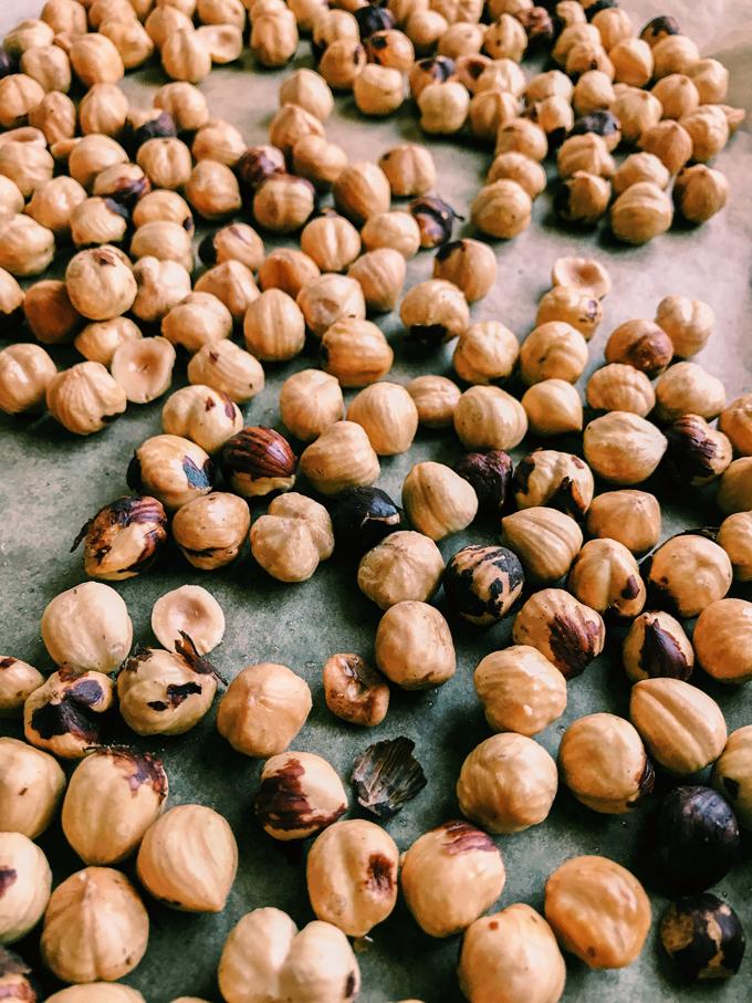 hazelnuts on a baking sheet