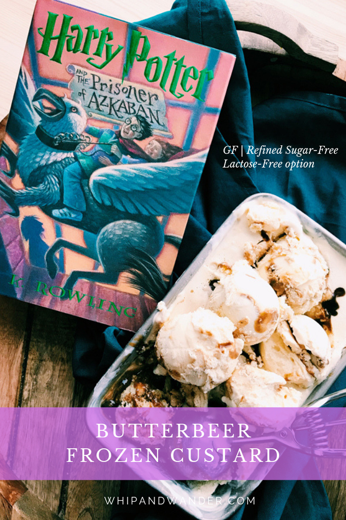 a pan of butterbeer frozen custard on a tray with a book