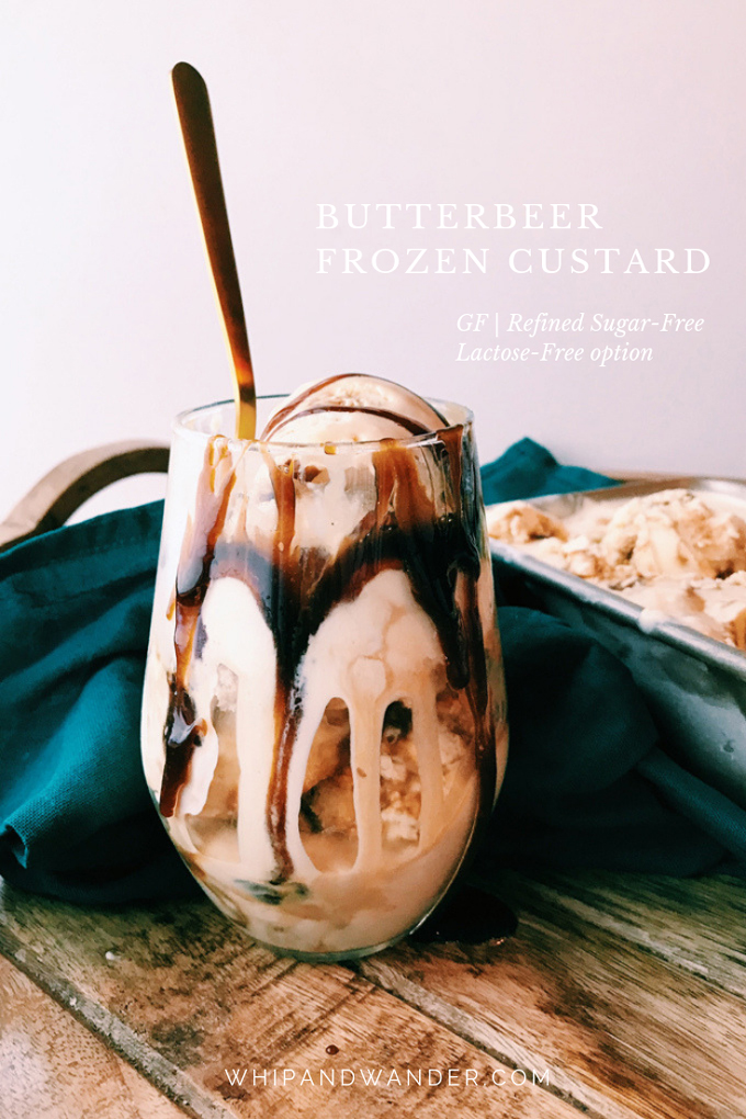 a butterbeer frozen custard sundae in a glass cup with a gold spoon
