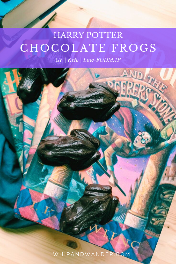 a book with a boy wizard and chocolate frogs
