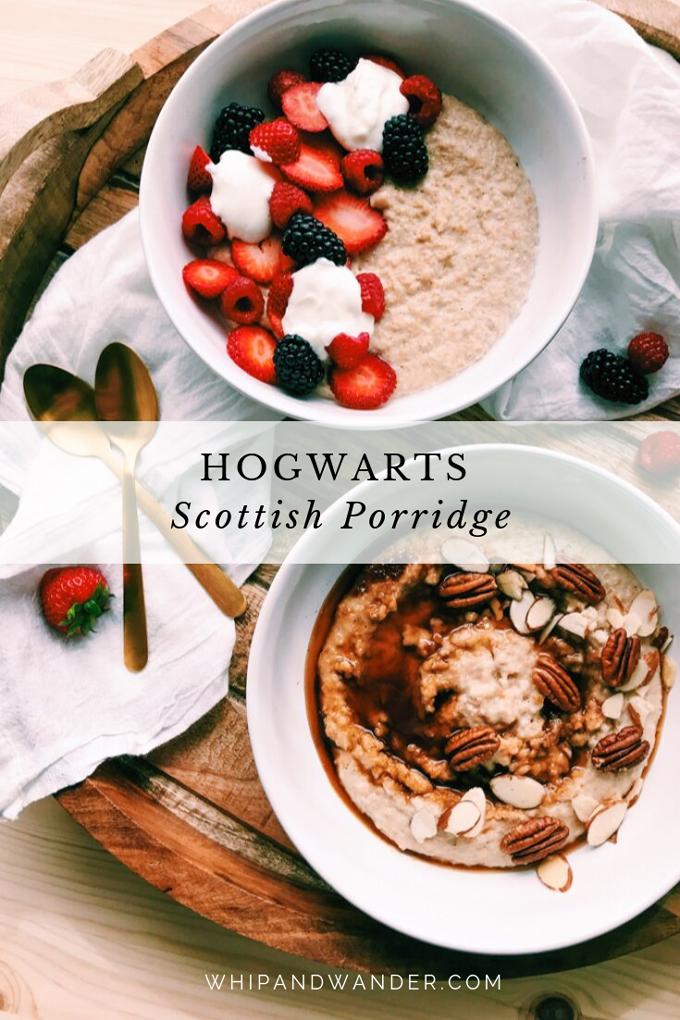two white bowl full of scottish porridge with nuts, fruit, yogurt, coconut sugar