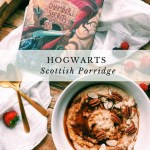 a white bowl full of scottish porridge with nuts and coconut sugar next to a harry potter book