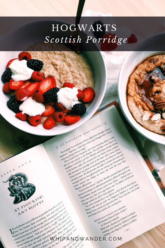 an open book next to two bowls of scottish porridge with berries, yogurt, and pecans