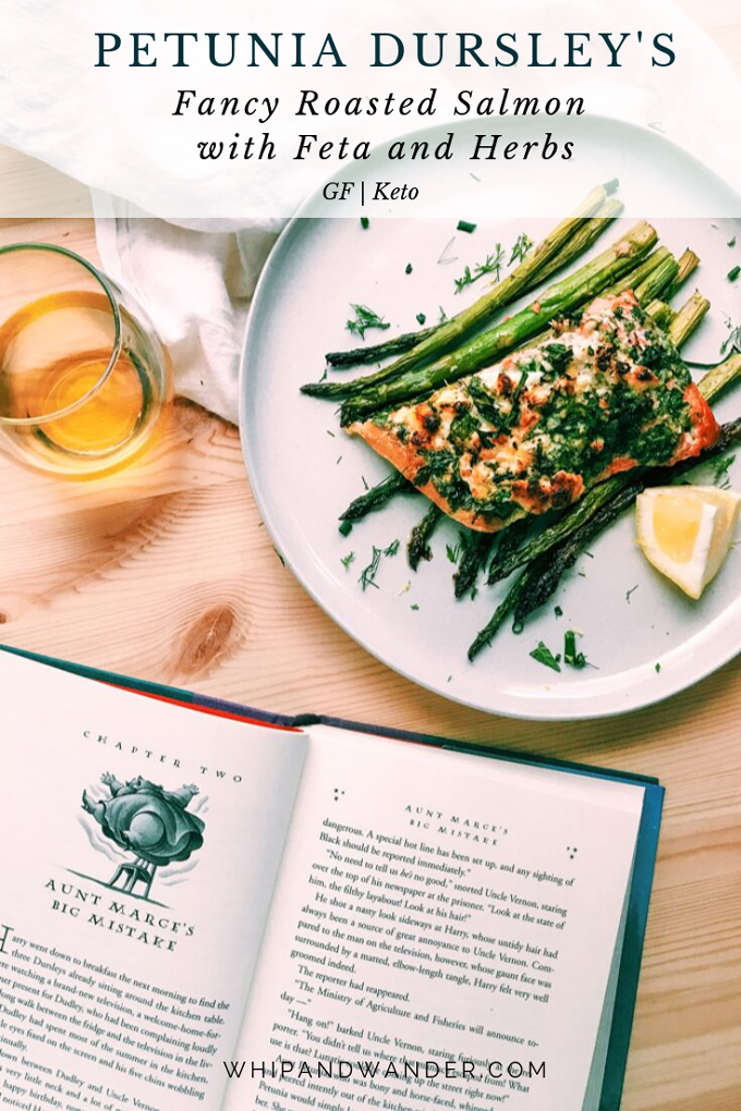 petunia dursleys fancy roasted salmon with feta and herbs on a white plate next to a harry potter book and a glass of wine