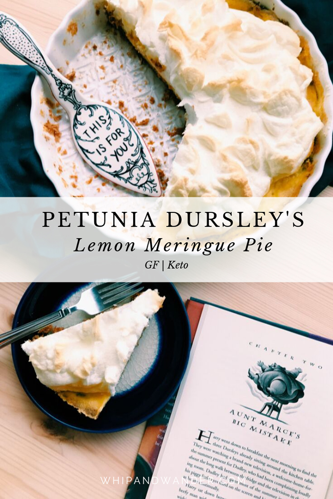 a lemon meringue pie with a pie server in a white pie pan with a slice and a book nearby