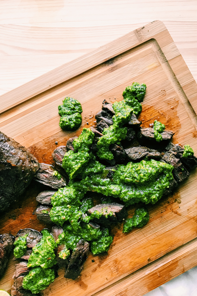 sliced skirt steak with avocado chimichurri