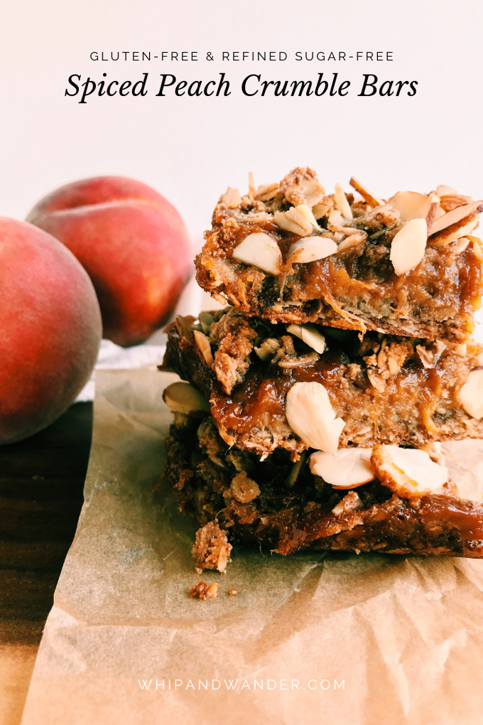 spiced peach crumble bars with almonds and peach butter