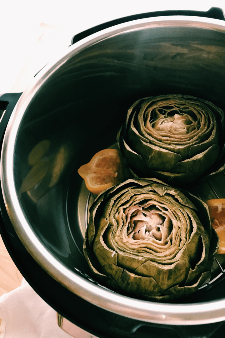 pressure cooked artichokes in an instant pot