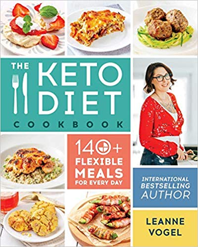 leanne vogel surrounded by images of keto food and colored boxes with text