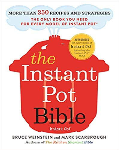 a red illustration of an instant pot on a white background with white and black text that says the instant pot bible