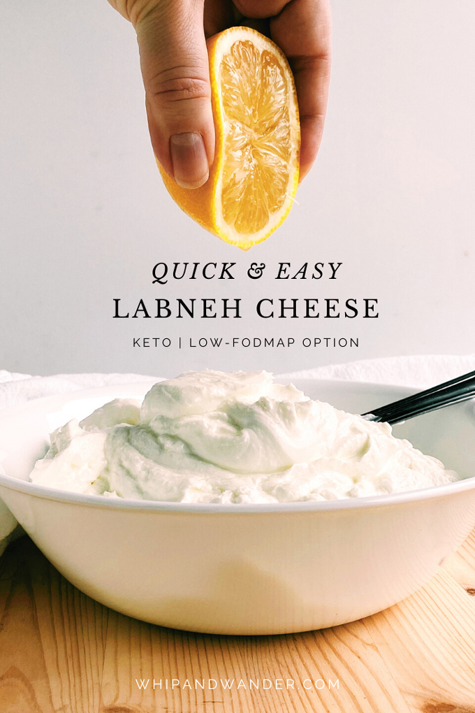 a white bowl filled with yogurt and a hand squeezing half a lemon into it