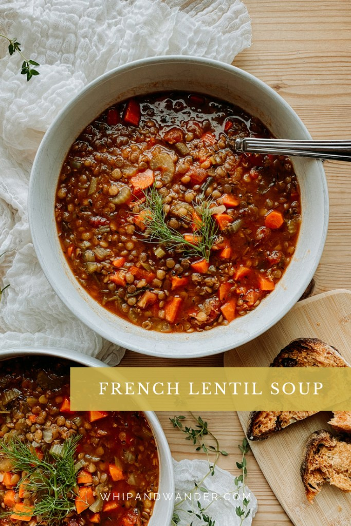French lentil soup with le puy lentils, carrots, celery, and fennel in a white bowl