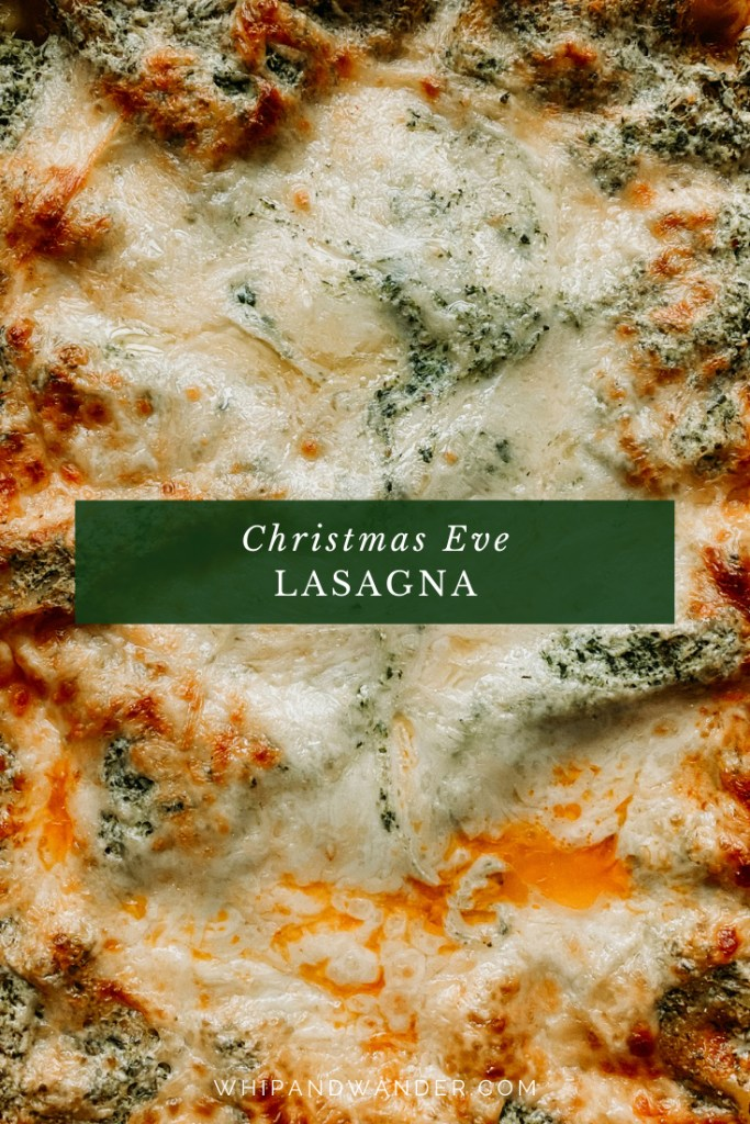 closeup of the top of a Christmas Eve Lasagna
