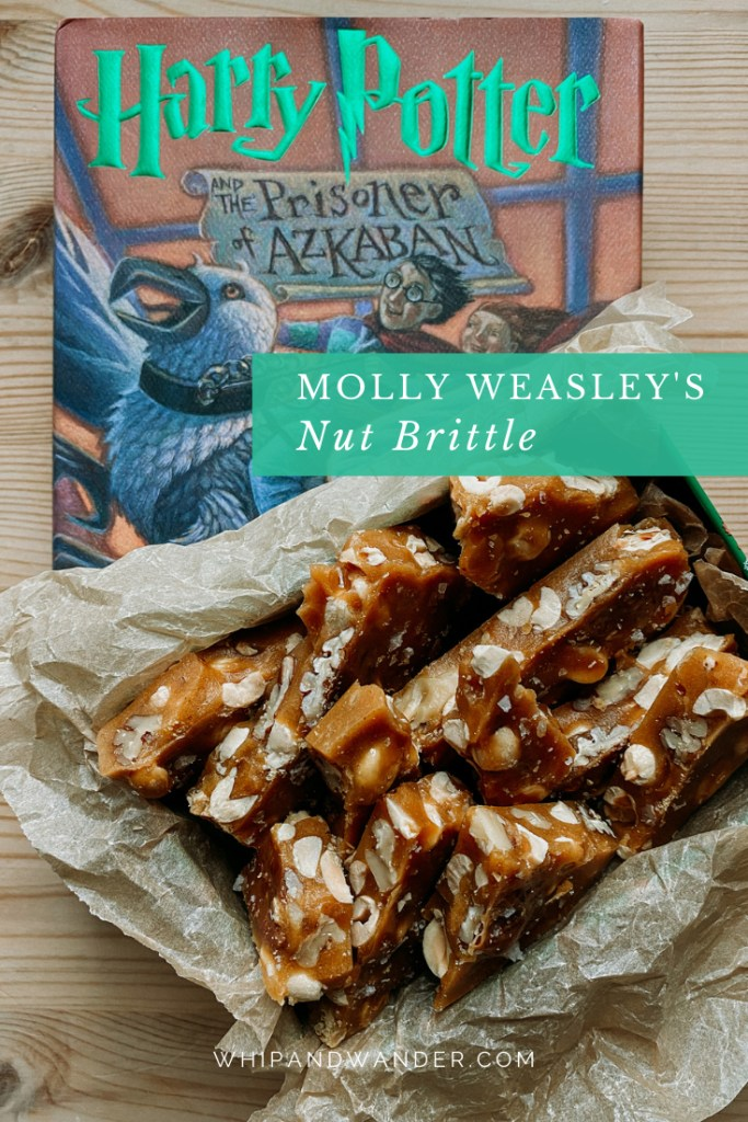 Molly Weasley's Nut Brittle in a parchment lined tin on top of a harry potter book