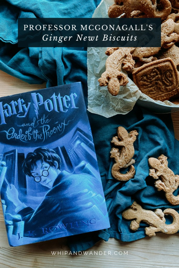 a blue harry potter book resting next to a tin of Professor McGonagall's Ginger Newt Biscuits and a teal towel