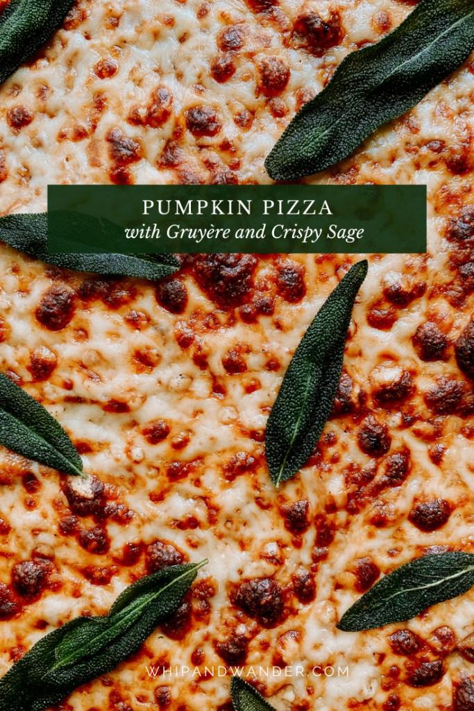 crispy sage resting on top of a gruyere and mozzarella pizza