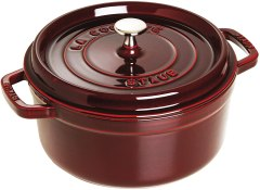 Staub 5 1/2 qt dark red dutch oven