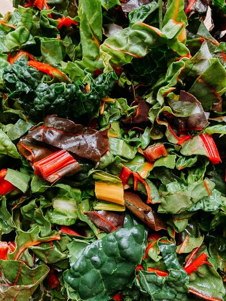 closeup of lacinato kale and rainbow swiss chard