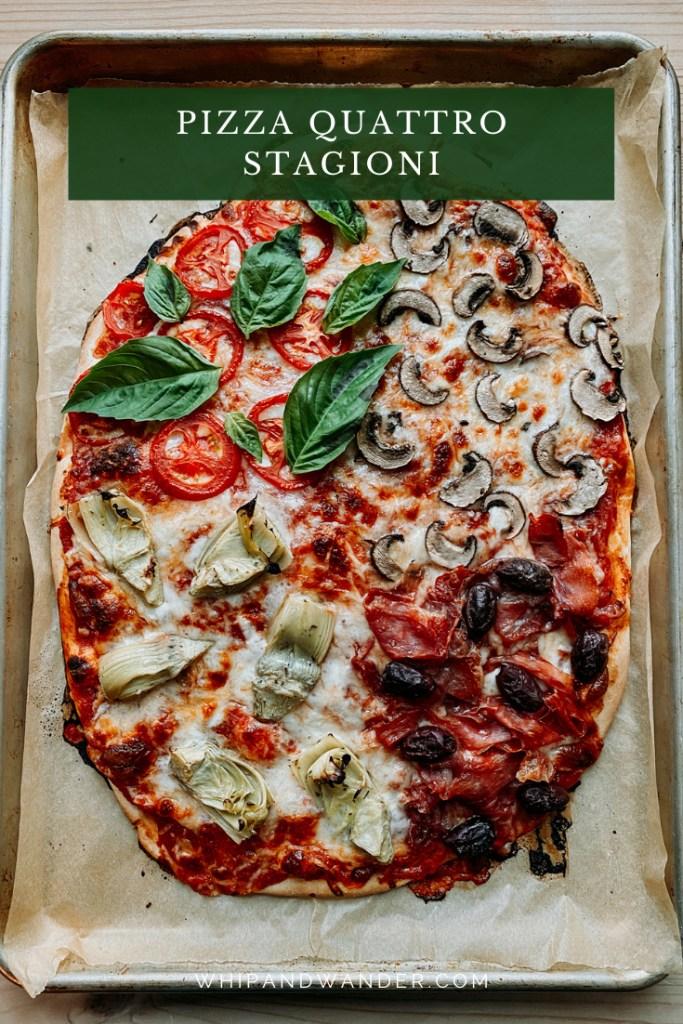 a Pizza Quattro Stagioni on a baking tray