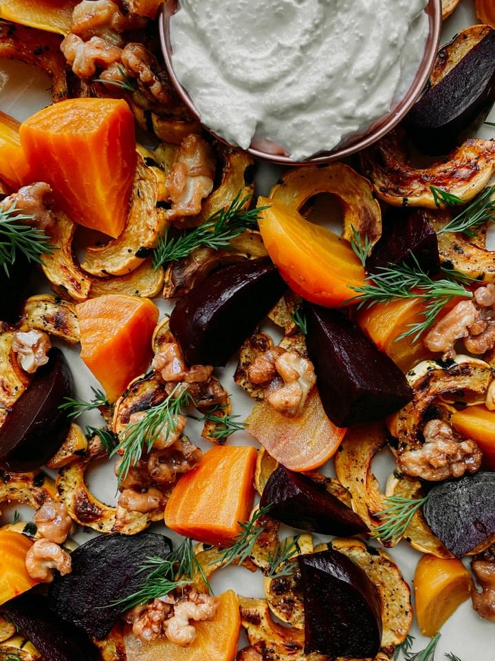 closeup of delicata squash, beets, walnuts, and dill