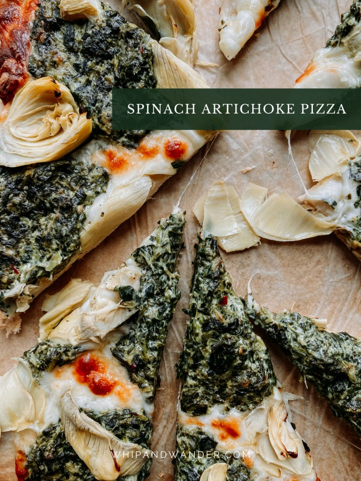 spinach dip and artichoke hearts on top of pizza slices with mozzarella cheese