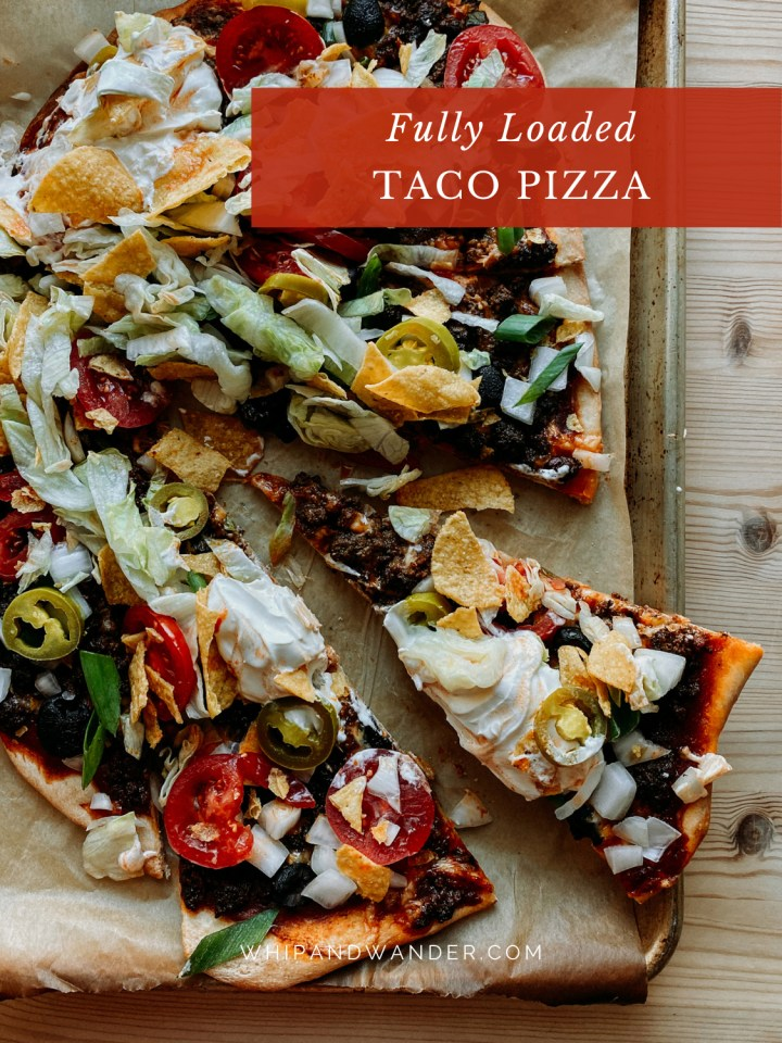 slices of Taco Pizza topped with tortilla chips, jalapenos, lettuce, and sour cream