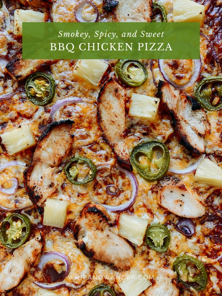 a jalapeno, pineapple, and red onion-topped BBQ Chicken Pizza