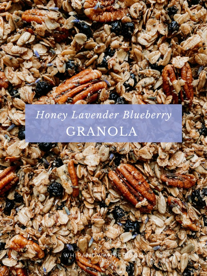a batch of granola with honey, seeds, pecans, blueberries, and lavender
