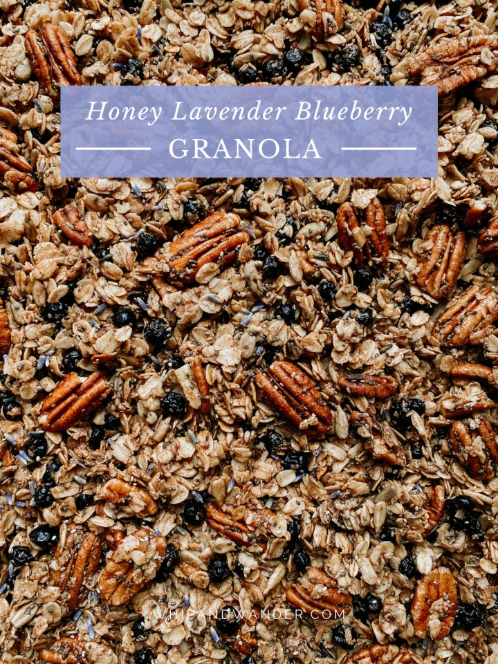 pecans dot a batch of granola with blueberries, honey, and lavender