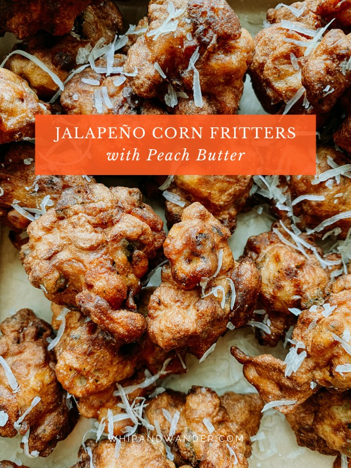 parmesan cheese topped Jalapeño Corn Fritters