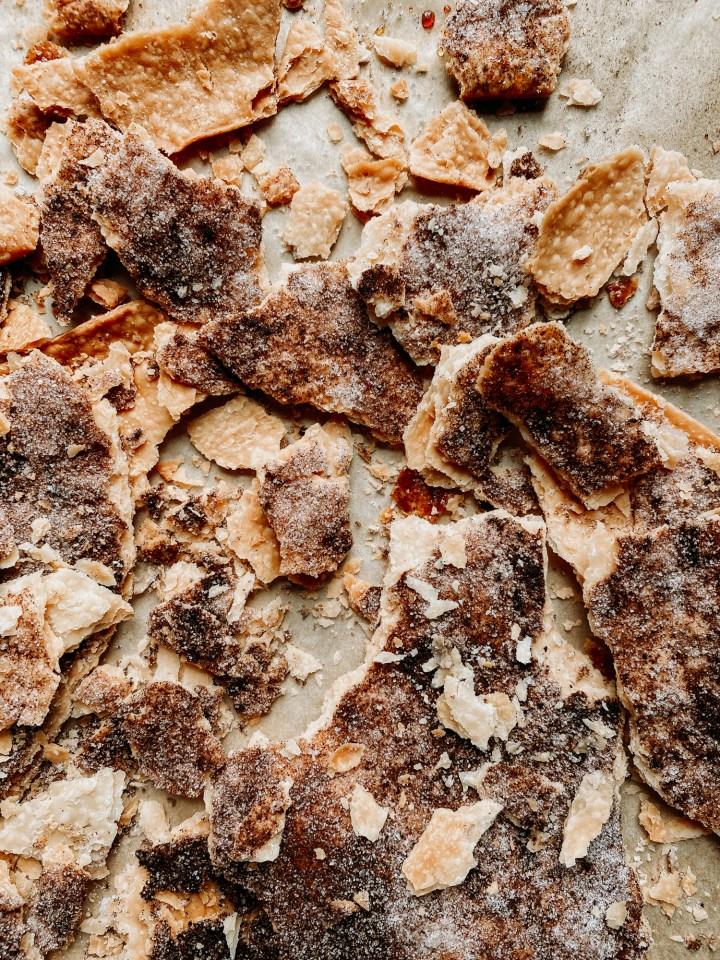 chunks of broken cinnamon and sugar pie crust