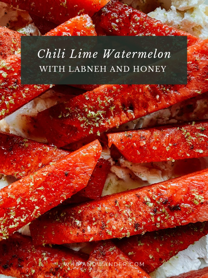 closeup of lime zest, salt, and chili powder on slices of watermelon
