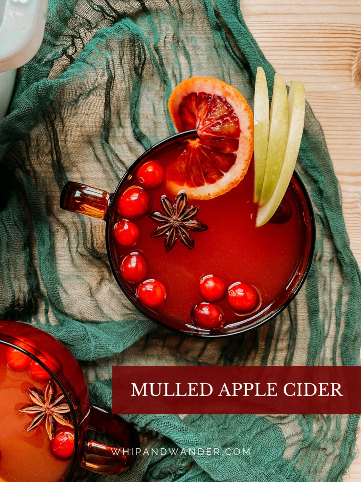 a green fabric cloth witha. glass of mulled cider on top, garnished with apples, cranberries, citrus, and star anise
